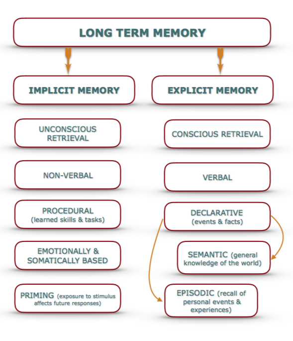 Differences between implicit and explicit memory