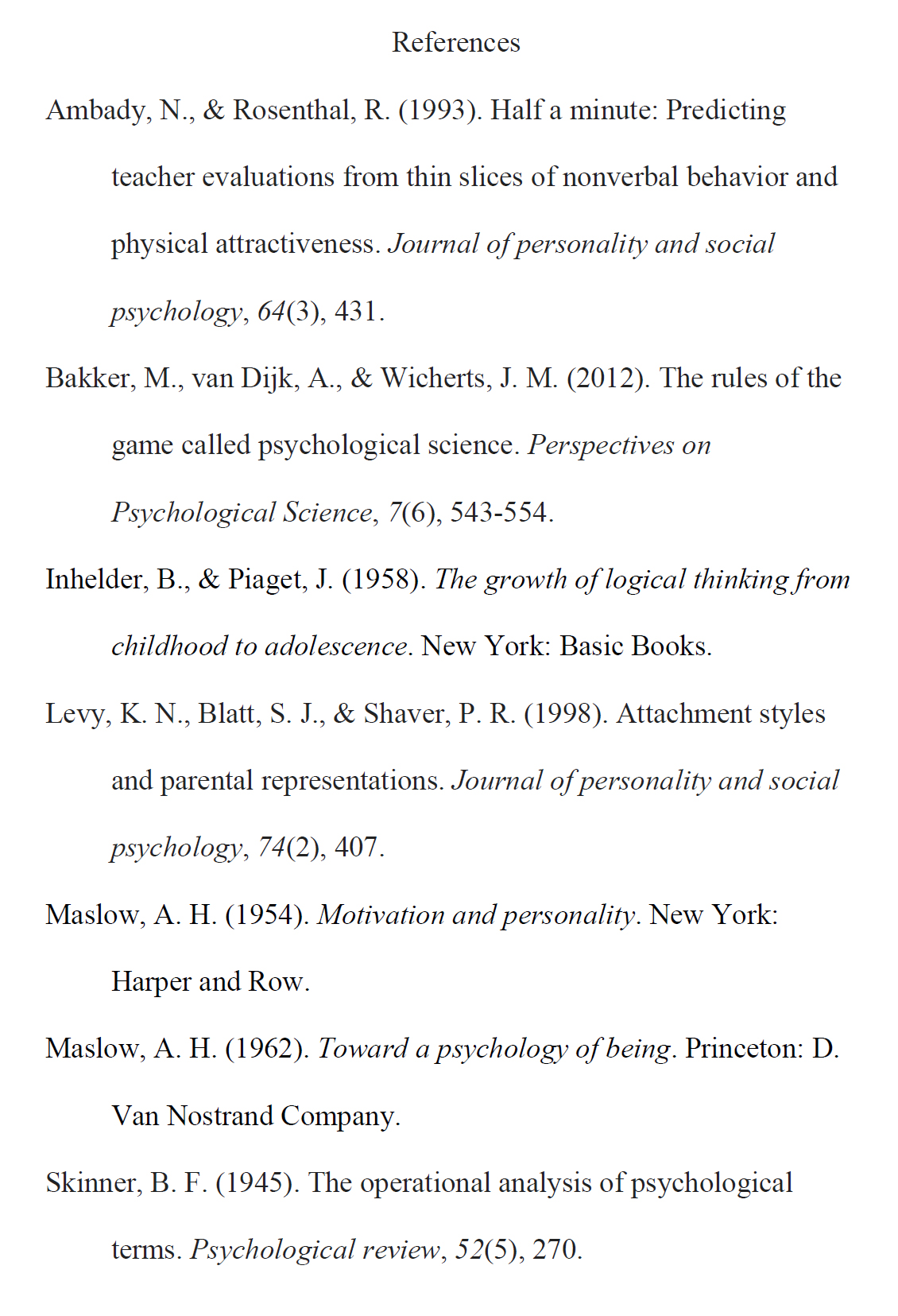 An example of an apa format reference page simply psychology