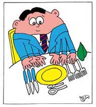 cartoon fat man eating a meal