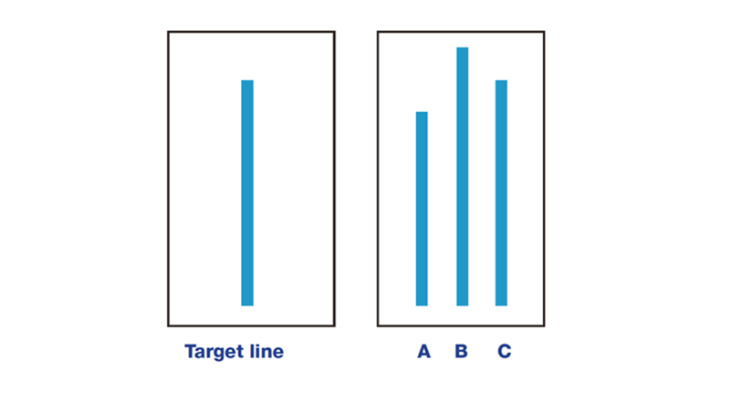 Asch experiment target line and three comparison lines