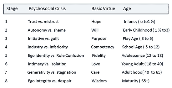 erikson developmental stages The stages of psychosocial development articulated by erik erikson describes eight developmental stages through which a healthily developing human should pass from.